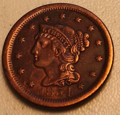 Genuine Old US 1854 Pre Civil War Large Cent Penny Coin NR*