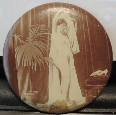 Vintage 1900's RISQUE PIN-UP GIRL CELLULOID POCKET MIRROR NUDE WOMAN PHOTO