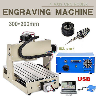 USB Port 4 AXIS 3020T ENGRAVER 300W CNC ROUTER ENGRAVING Milling MACHINE CUTTER