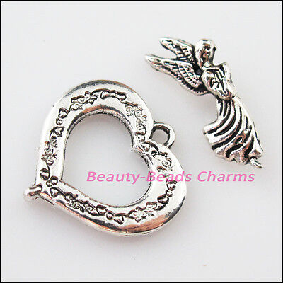 3Sets Tibetan Silver Angel Heart Circle Bracelet Toggle Clasps Connectors