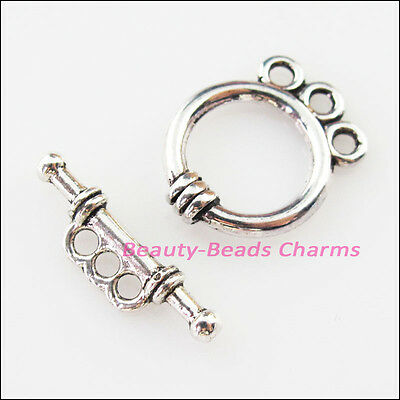 5Sets Tibetan Silver Smooth Round Circle Bracelet Toggle Clasps Connectors