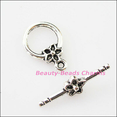 8Sets Tibetan Silver Smooth Star Flower Circle Bracelet Toggle Clasps Connectors