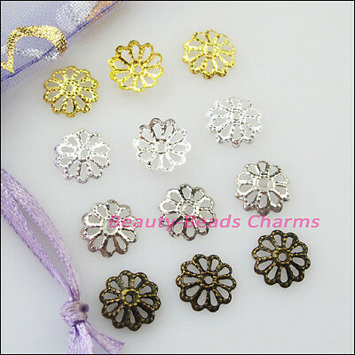 350Pcs Flower End Bead Caps Connectors 8mm Gold Dull Silver Bronze Plated