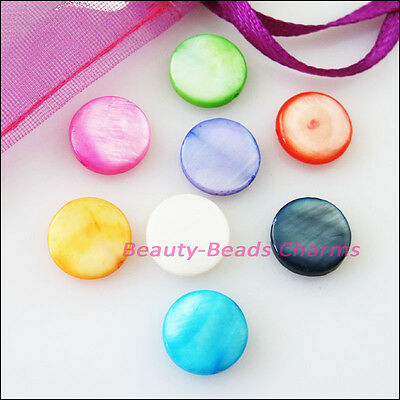 20Pcs Mixed Smooth Round Ball Natural Shell Spacer Beads Charms 10mm