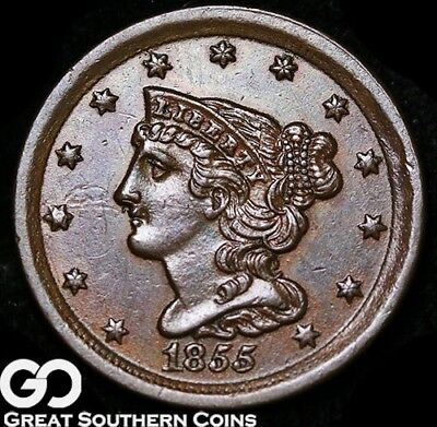 1855 Half Cent, Braided Hair, Sharp Choice BU++ Copper!
