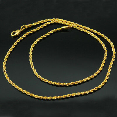 """Mens 14K Yellow Gold Plated 4mm Rope Chain Necklace 19"""""""