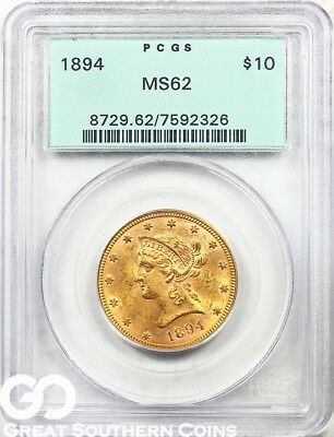 1894 Gold Eagle, $10 Gold Liberty PCGS MS 62 ** Old Green Holder, Free Shipping!