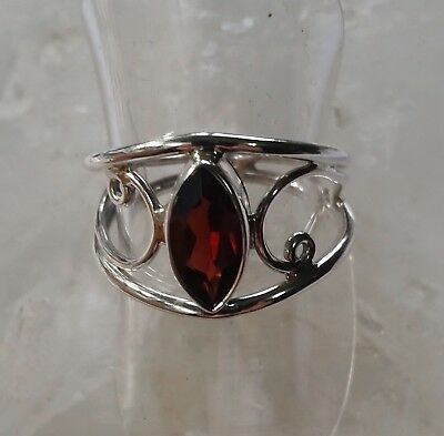 493 Garnet faceted gemstone ring Solid 925 Sterling Silver sz N/Q rrp$79.95
