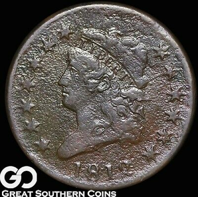 1812 Large Cent, Classic Head, Scarce Copper Coin, Choice VF+ Details, Key Date!