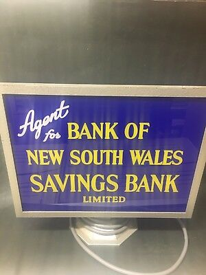 Genuine Old Light Up Wales Bank NSW Sign VGC Works Well