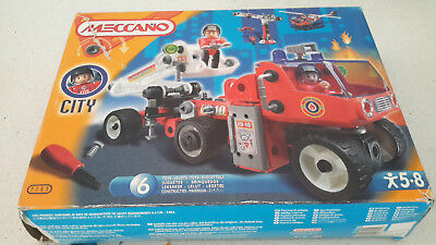 GENUINE MECCANO set  MODEL CITY 7105 6 different models fire truck helicopter