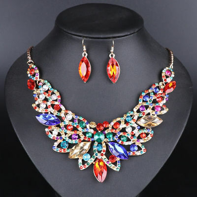 Crystal Bridal Jewelry Sets Party Costume Accessories Wedding Necklace Earring