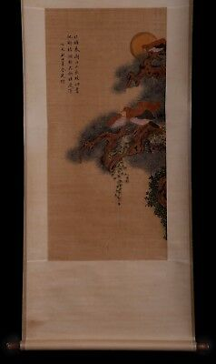 Exquisite Old Chinese Scroll Bird Painting Handwork Collection Marks KK666
