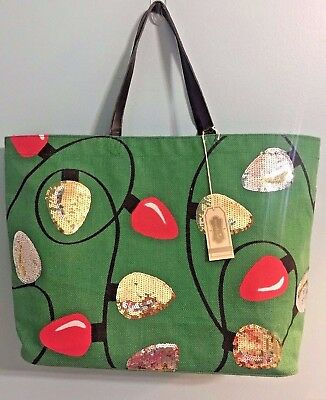 Mud Pie CHRISTMAS Holiday Lights Dazzle Sequin Jute Tote Bag Shopper X-Large
