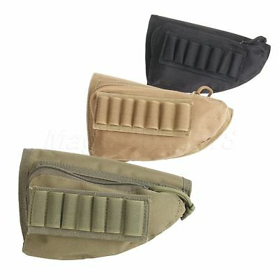 Rifle Outdoor Hunting Shotgun Buttstock Shell Ammo Holder Stock Pouch Cheek Pad