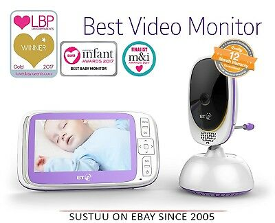 """BT Video Baby 6000 Nuesery Night Vision Remote Control Range 5"""" Screen Monitor"""