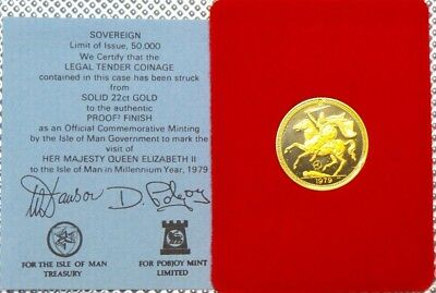 1979 Isle Of Man Gold Proof Sovereign Pound Armored Equestrian & Cert