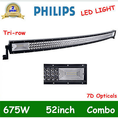 52Inch 675W Curved LED Work Light Bar Flood Spot Tri-row Light Offroad 7D LENS