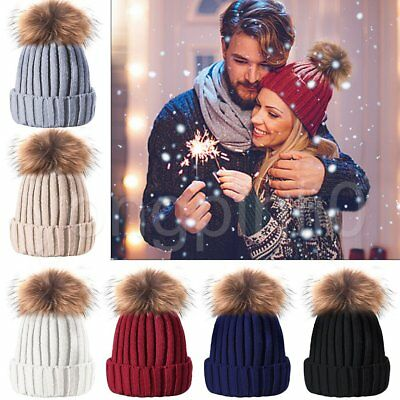 Womens Warm Winter Wool Knit Beanie Large Fur Pom Bobble Hat Knitted Ski Cap