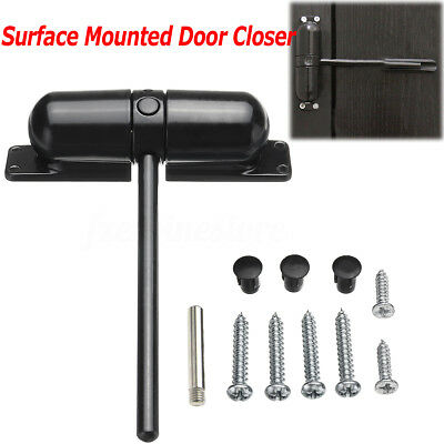 Black Surface Mounted DOOR GATE CLOSER Outdoor Spring Adjustable Auto Fire Rated
