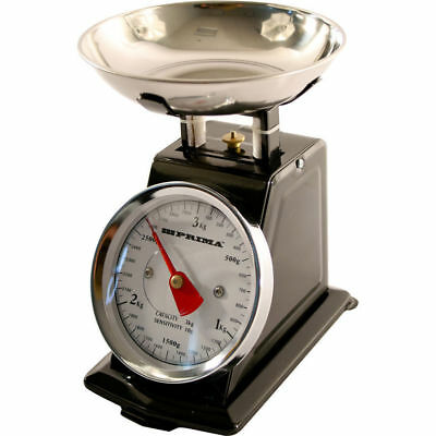 Mechanical retro kitchen scales 3kg steel bowl weighing cooking analogue Black
