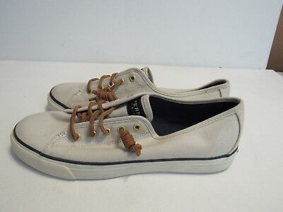 5b18d3813ef WOMENS SPERRY SEACOAST Off White Canvas Boat Shoes Size 9.5M (V95 ...