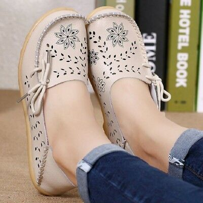 Womens Leather Comfort Casual Walking Bowed Moccasin Hollow Flat Shoes Loafers