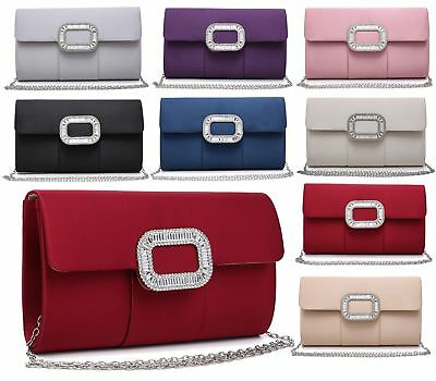 Womens Clutch Bag Evening Diamante Jewel Bridal Prom Wedding Satin Handbag