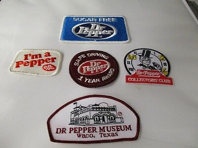 """Dr Pepper Five Cloth Patches """"includes """"safe Driving 1 Year Award""""   Scarce"""