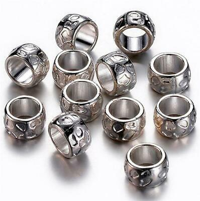TOP QUALITY 10 TIBETAN SILVER LARGE HOLE SPACER BEADS 13mm x 8mm HOLE 10mm (TS35