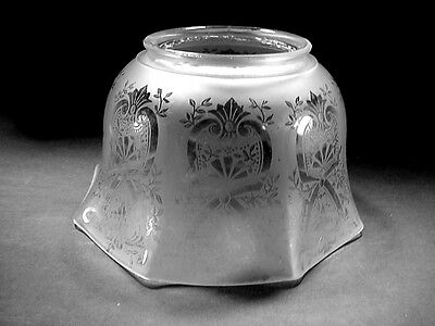 Lot #3: Antique Victorian Acid Etched Frosted Glass Gas Lamp Banquet Light Shade
