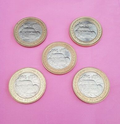 5x ISLE of MAN £2 Two 2 Pound Coin 1998 VINTAGE SPORTS RACING CARS MANX RALLY TT