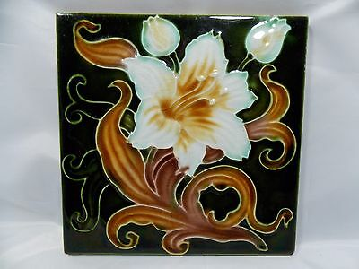 Antique Embossed and tube lined Majolica Tile England 1900s Art Nouveau