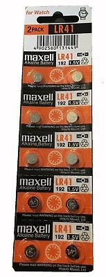 10 x Maxell LR41 192 Alkaline Battery 1.5V Made in Japan