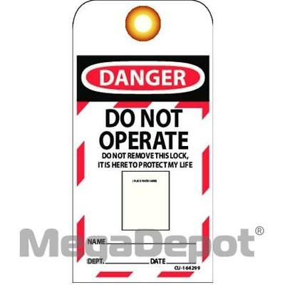 """Abus T104, 73006 Laminated Vinyl """"Do Not Operate"""" Lockout Tag with Photo ID"""