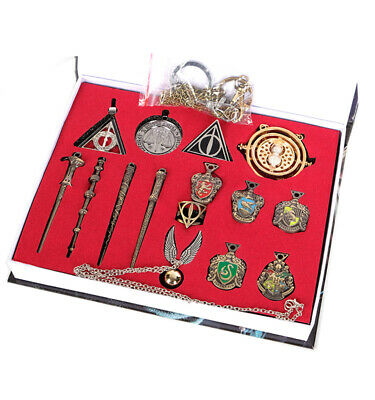 15PCS Harry Potter Hermione Quidditch Deathly Hallows Necklace Magic Wand In Box