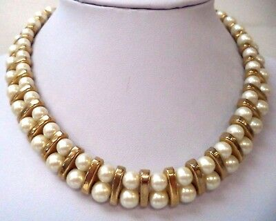 "Stunning Vintage Estate Faux Pearl Gold Tone 17"" Necklace!!! 6956W"