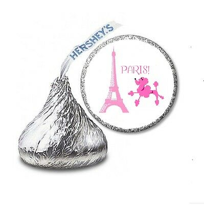 216 PINK POODLE IN PARIS HERSHEY'S KISS BIRTHDAY STICKER LABELS - Party Favors