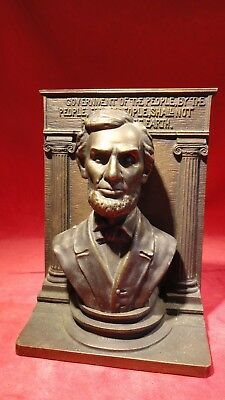 Rare Antique Lincoln Bust Bookend -Cast Iron Bronze Finish W/ Ornate Background