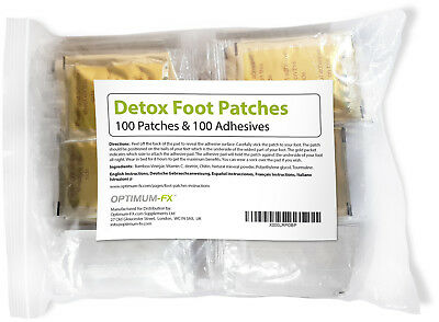 100 Gold Detox Foot Patches Detox Detoxify Pain Relief Immune Immunity Booster