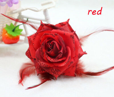 1PCS Red Feather Rose Corsage Wrist Flower Romantic Bridal Headpieces brooch