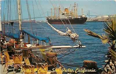 San Pedro,California~Sailboat. Steam Ship @ Ports O'Call Village~1968 Postcard
