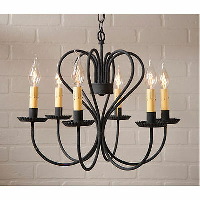 Large Georgetown Wrought Iron Black Six Arm Chandelier NEW SHIPS FREE