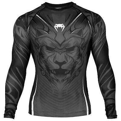 Venum Bloody Roar Grey MMA Rash Guard BJJ Long Sleeve Mens Black Compression Top