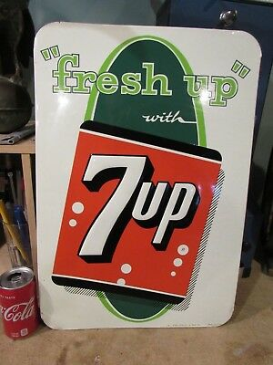 VINTAGE ORIGINAL 1920's-40's 7UP EMBOSSED TIN LITHOGRAPH SIGN BY STOUT SIGN CO.