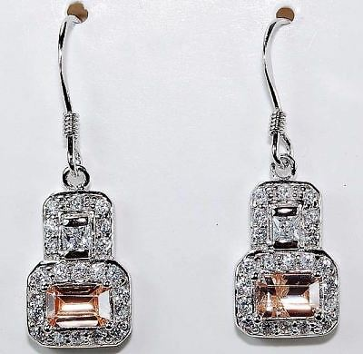 4CT Padparadscha Sapphire & White Topaz 925 Solid Sterling Silver Earrings, T2-1