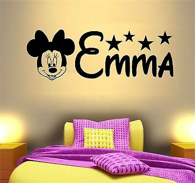 PERSONALISED NAME MINNIE Mouse Disney Vinyl Decor Wall Art Sticker ...