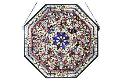 """Meyda Tiffany 25""""W X 25""""H Front Hall Floral Stained Glass Window Octagon Shaped"""