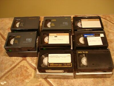 Lot of (8) Previously Used VHS-C Video Camcorder Tapes JVC/PANASONIC/SONY