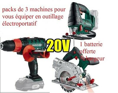 Pack de  3 machines 20v Batterie Parkside X20V TEAM compatible avec 9 OUTILS